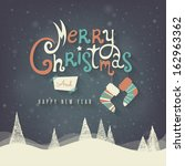 christmas greeting card. merry... | Shutterstock .eps vector #162963362