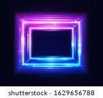 square frame  glow light neon... | Shutterstock .eps vector #1629656788