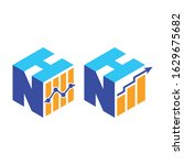 cubic font n h with financial... | Shutterstock .eps vector #1629675682