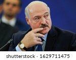 Small photo of YEREVAN, ARMENIA - 1 OCTOBER 2019: Belarus President Alexander Lukashenko, during a meeting, in Yerevan, Armenia.