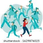 crowd of people wearing... | Shutterstock .eps vector #1629876025