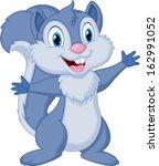 cute squirrel cartoon waving | Shutterstock . vector #162991052