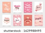 set collection of cute pink... | Shutterstock .eps vector #1629988495