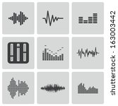 vector black music soundwave... | Shutterstock .eps vector #163003442