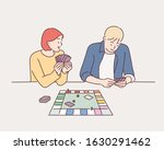 couple playing board game. hand ... | Shutterstock .eps vector #1630291462