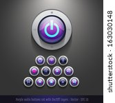 purple audio button set with on ...