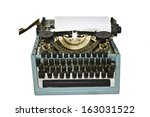 old writing machine isolated on ... | Shutterstock . vector #163031522