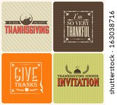 vintage styled thanksgiving... | Shutterstock .eps vector #163038716
