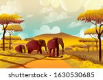 A Group Of Elephants In The...