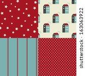 vector set of four christmas... | Shutterstock .eps vector #163063922
