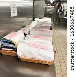 Small photo of Quintana Roo, Mexico-January 21, 2020: Laundry onboard the cruise ship Norwegian Breakaway ready for delivery to the staterooms.
