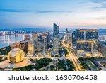 Night view of New Town, Hangzhou, Zhejiang, China