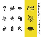 environment icons set with air...