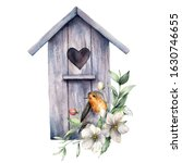 Watercolor Card With Bird House ...