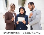 front view of smiling managers...   Shutterstock . vector #1630746742