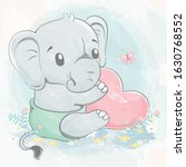 Cute Baby Elephant With Big...