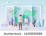backpacker with various travel... | Shutterstock .eps vector #1630830088