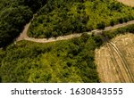 Small photo of Forest, field and road branching on top of Sober Bash mountain, Krasnodar region, Sober Bash mountain, Russia