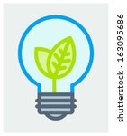 Vector illustration of light bulb with growing up young leaves - stock vector