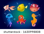 cute sea animals  fish  octopus ... | Shutterstock .eps vector #1630998808