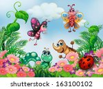 illustration of a garden with... | Shutterstock .eps vector #163100102