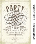 vintage party poster template.... | Shutterstock .eps vector #163108856