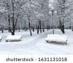 Winter Snow Covered City Park...