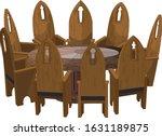 illustration of nine chairs... | Shutterstock .eps vector #1631189875