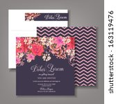 Wedding invitation card with abstract floral background. | Shutterstock vector #163119476