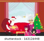 grandmother with granddaughters ... | Shutterstock .eps vector #163126448