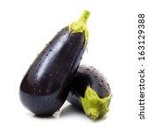 fresh eggplants in white... | Shutterstock . vector #163129388