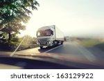 european truck speeding on... | Shutterstock . vector #163129922