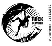 rock climber at sunset. vector... | Shutterstock .eps vector #163132592