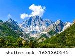 Mountain peak snow landscape. Mountain peak view. Snowy mountain peak scene. Mountain landscape