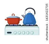 gas stove with pan and kittle.... | Shutterstock .eps vector #1631422735