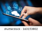 hand touching tablet pc  mobile ... | Shutterstock . vector #163153802