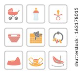 baby items icon set | Shutterstock .eps vector #163178015
