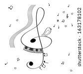 illustration with treble clef ... | Shutterstock .eps vector #163178102