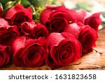 Red Roses Bouquet On Old Rustic ...