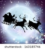 santa flying in his sleigh with ... | Shutterstock . vector #163185746