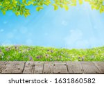 spring meadow with flowers and... | Shutterstock . vector #1631860582