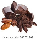 chopped chocolate bar and cocoa ... | Shutterstock . vector #163201262