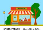 cartoon supermarket facade of...   Shutterstock .eps vector #1632019528