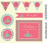 baby shower invitation template.... | Shutterstock .eps vector #163204442