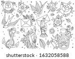 tattoo flash outlines icons... | Shutterstock .eps vector #1632058588