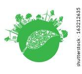 vector ecology concept   leaf... | Shutterstock .eps vector #163212635
