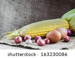 Peel of raw material fresh food on sackcloth - stock photo