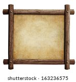 Old Wooden Frame With Paper Or...