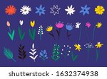 collection of flowers in a flat ... | Shutterstock .eps vector #1632374938