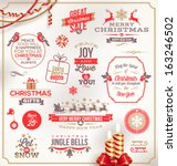 vector set of christmas signs... | Shutterstock .eps vector #163246502